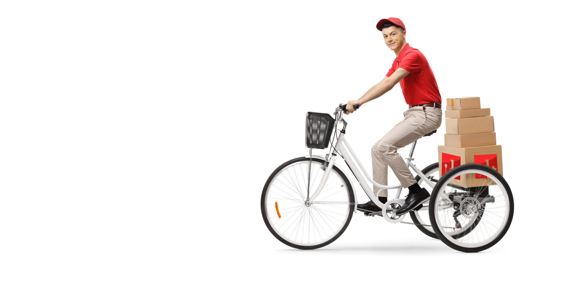 delivery man with packages riding his bicycle