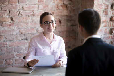 female human resource manager talking to an applicant